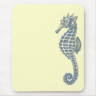 Blue Seahorse Mouse Pad