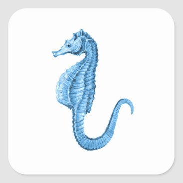 Beach Themed Blue seahorse nautical coastal ocean gift wrapping square sticker