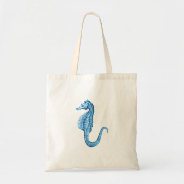 Beach Themed Blue seahorse nautical ocean coastal gifts tote bag