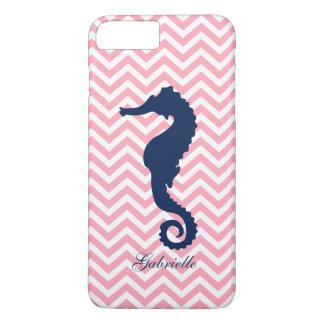 Blue Seahorse on Pink Chevrons Pattern iPhone 8 Plus/7 Plus Case