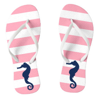 Blue Seahorse on Pink Stripes Flip Flops