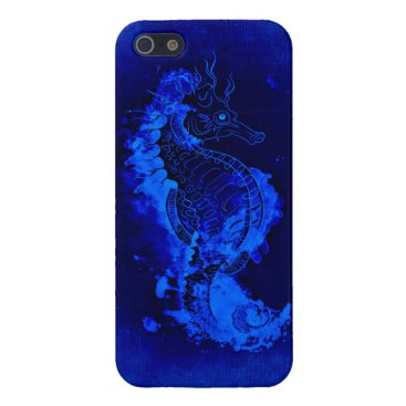 Beach Themed Blue Seahorse Painting Case For iPhone SE/5/5s