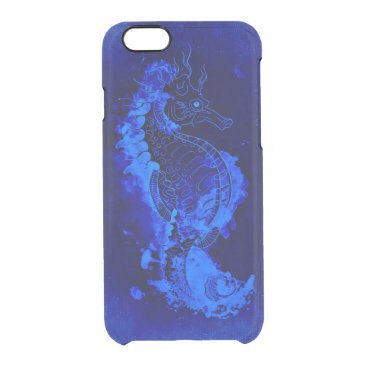 Beach Themed Blue Seahorse Painting Clear iPhone 6/6S Case