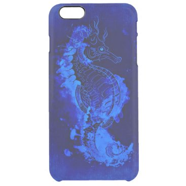 Beach Themed Blue Seahorse Painting Clear iPhone 6 Plus Case