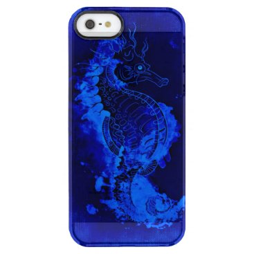 Beach Themed Blue Seahorse Painting Clear iPhone SE/5/5s Case