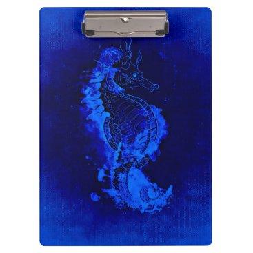 Beach Themed Blue Seahorse Painting Clipboard
