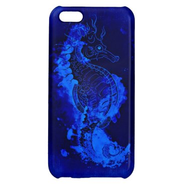 Beach Themed Blue Seahorse Painting Cover For iPhone 5C