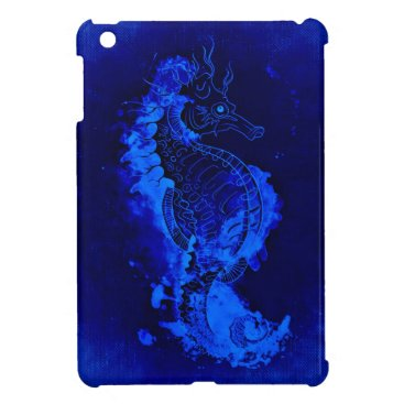 Beach Themed Blue Seahorse Painting Cover For The iPad Mini