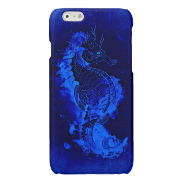 Beach Themed Blue Seahorse Painting Glossy iPhone 6 Case