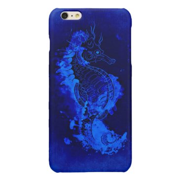 Beach Themed Blue Seahorse Painting Glossy iPhone 6 Plus Case