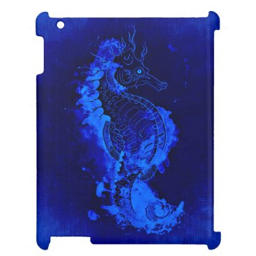 Beach Themed Blue Seahorse Painting iPad Covers