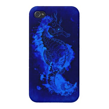 Beach Themed Blue Seahorse Painting iPhone 4/4S Case