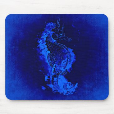 Beach Themed Blue Seahorse Painting Mouse Pad