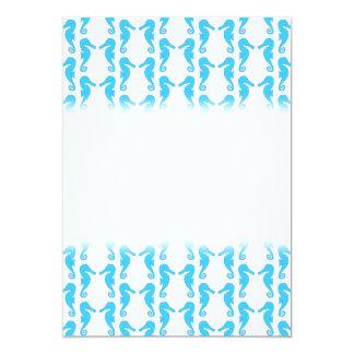 "Blue Seahorse Pattern 5"" X 7"" Invitation Card"
