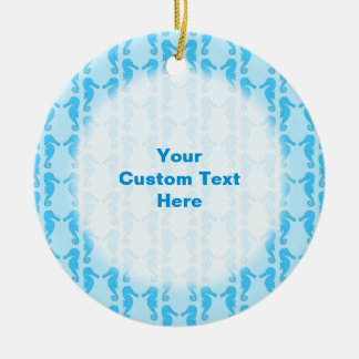 Blue Seahorse Pattern Christmas Tree Ornaments