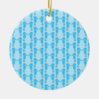 Blue Seahorse Pattern Christmas Ornaments