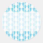 Blue Seahorse Pattern Round Stickers
