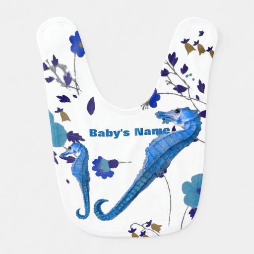 Blue Seahorse personalized Baby Bib