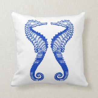 Blue Seahorse Pillow