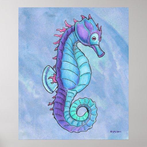 Blue Seahorse Print