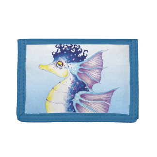 Blue Seahorse Watercolor Ink Trifold Wallet