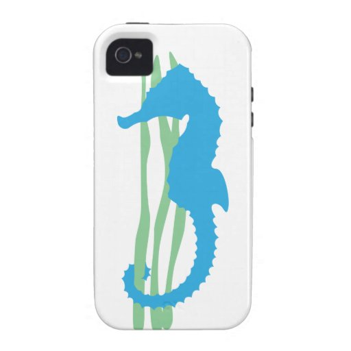 Blue Seahorse with Sea Grass Vibe iPhone 4 Covers