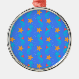 Blue Seahorses And Starfish Pattern Metal Ornament