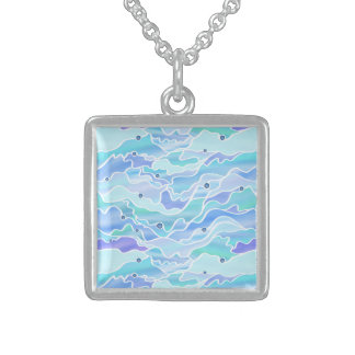 Blue Seascape Abstract Sterling Silver Necklace