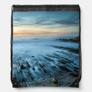 Blue seascape at sunset, California Drawstring Bag