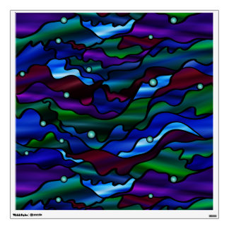 Blue Seascape Stained Glass Abstract Wall Sticker