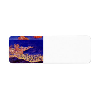 Blue seascape,Wave Effect by Georges Lacombe Custom Return Address Label