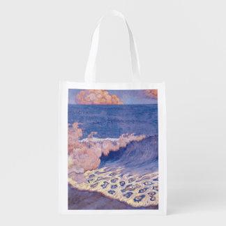 Blue seascape, Wave Effect, c.1893 Reusable Grocery Bag