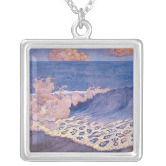 Blue seascape, Wave Effect, c.1893 Silver Plated Necklace