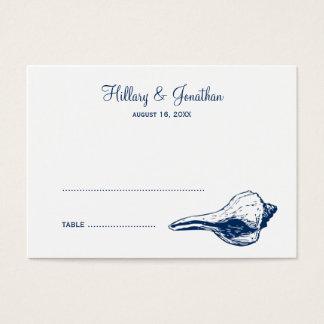 Blue seashell beach wedding escort name place card