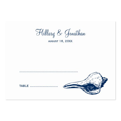 blue seashell beach wedding escort name place card large business cards pack of 100 zazzle. Black Bedroom Furniture Sets. Home Design Ideas