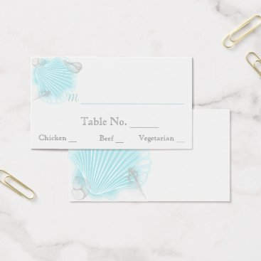 Beach Themed Blue Seashell Beach Wedding Place Cards