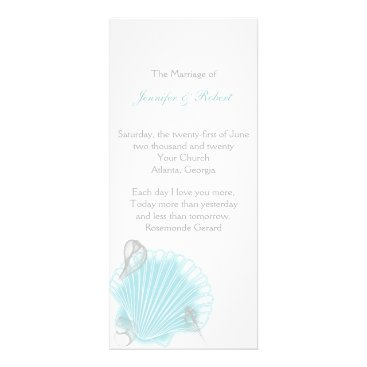 Beach Themed Blue Seashell Beach Wedding Program