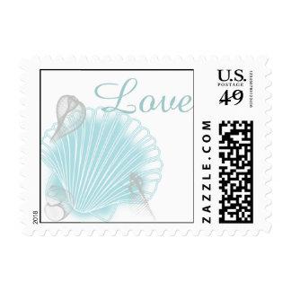 Blue Seashell Beach Wedding Stamp
