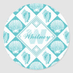 Blue Seashell Diamond Nautical Beach Monogram Classic Round Sticker