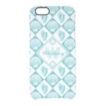 Blue Seashell Diamond Nautical Beach Monogram Clear iPhone 6/6S Case