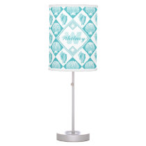 Blue Seashell Diamond Nautical Beach Monogram Desk Lamp