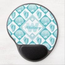 Blue Seashell Diamond Nautical Beach Monogram Gel Mouse Pad