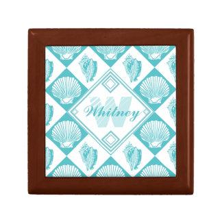 Blue Seashell Diamond Nautical Beach Monogram Gift Box