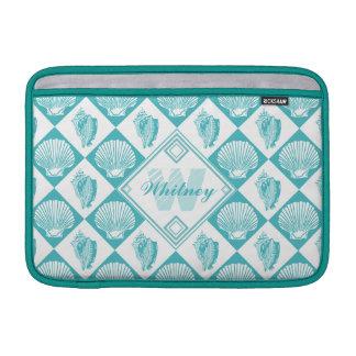 Blue Seashell Diamond Nautical Beach Monogram Sleeve For MacBook Air
