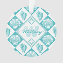 Blue Seashell Diamond Nautical Beach Monogram Ornament