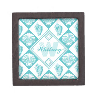 Blue Seashell Diamond Nautical Beach Monogram Premium Keepsake Box