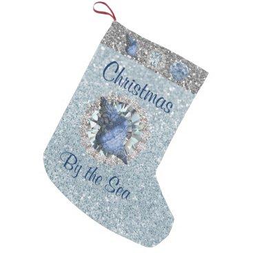 Beach Themed Blue Seashell Jewel Aquamarine Silver FauxGlitter Small Christmas Stocking