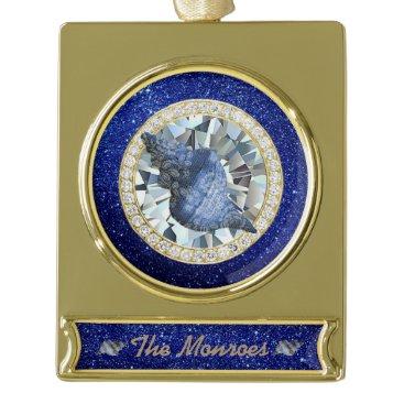 Beach Themed Blue Seashell Jewel Blue Faux Glitter Gold Plated Banner Ornament