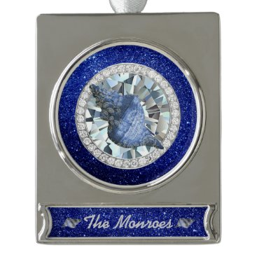 Beach Themed Blue Seashell Jewel Blue Faux Glitter Silver Plated Banner Ornament
