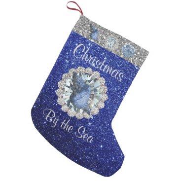 Beach Themed Blue Seashell Jewel Blue & Silver Faux Glitter Small Christmas Stocking